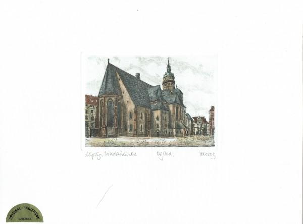 Original Radierung Nikolaikirche Leipzig (farbig)