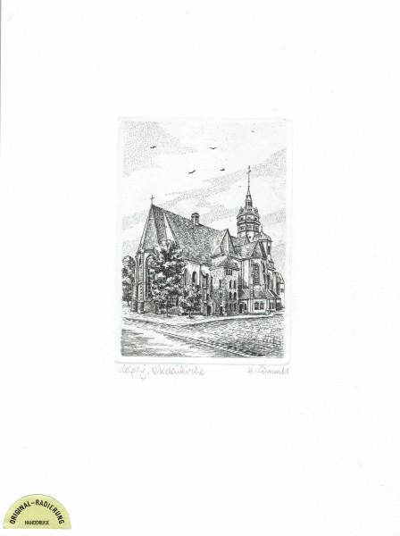 Original Radierung Nikolaikirche Leipzig (schwarz-weiß)